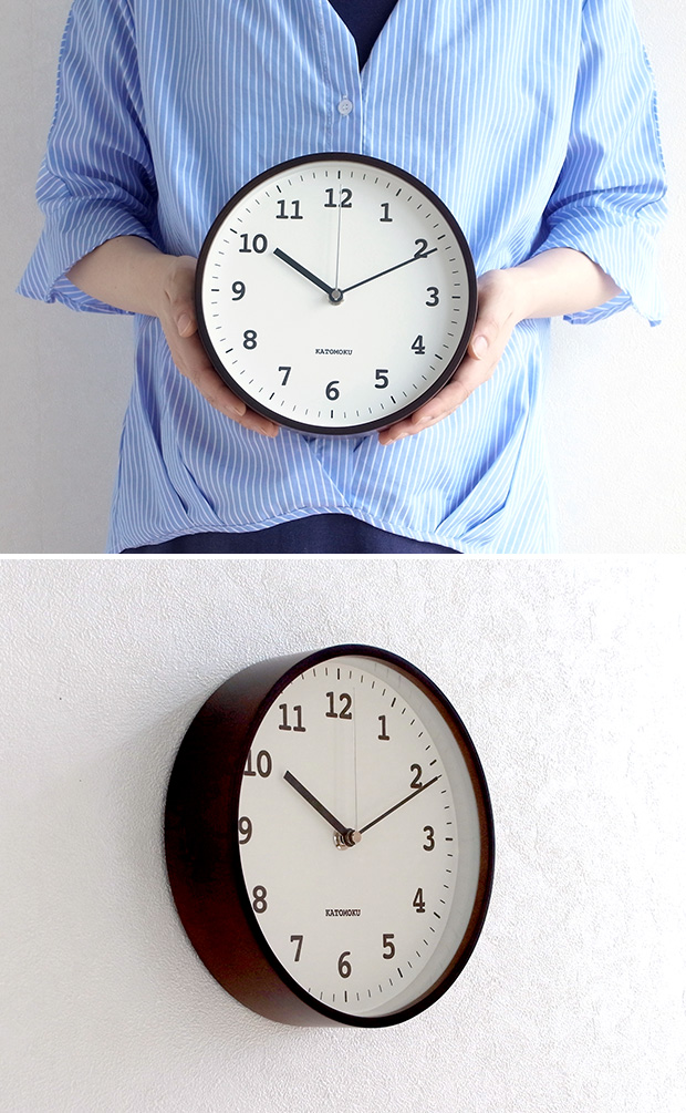 KATOMOKU plywood wall clock 13   ブラウン